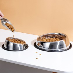 Stainless steel oblique mouth dog bowl pet bowl food bowl