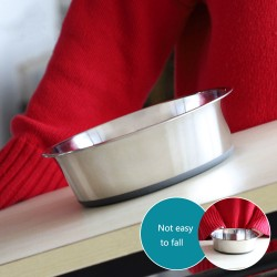 Stainless steel pet bowl Thick non-slip silicone bowl bottom pet food bowl
