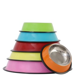 Stainless steel pet bowl color non-slip cat and dog food bowl