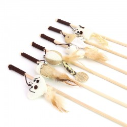 Funny cat stick mouse type rubber band with bell wooden stick
